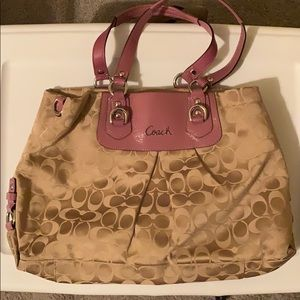 Like new! Tan coach purse with purple straps!